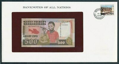 Madagascar: 1988 500 Francs Note & Stamp Cover, Banknotes Of All Nations Series