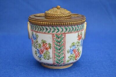 Samson Antique French Late 19th Century Porcelain Ink Well - Hand Painted