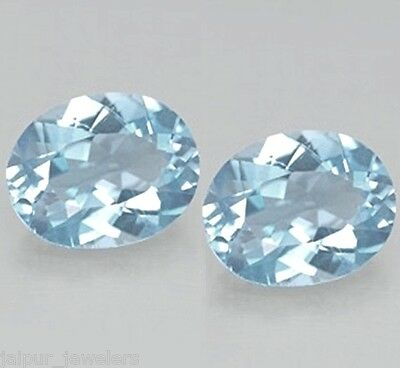 Beautiful Pair 8x6mm Oval Natural Brazilian Blue Topaz Loose Calibrated Gemstone
