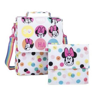 9641b24094c Disney Store NWT Minnie Mouse Fuzzy Backpack   Lunch Box + 2 Free Luggage  Tags