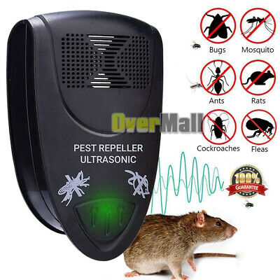 Electronic Ultrasonic Riddex Plus Mosquito Rat Rodent Mice Bug Pest Repeller Blk