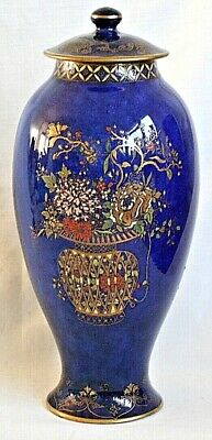 Carlton Ware Blue Ground Vase And Cover Bowl Of Flowers Pattern