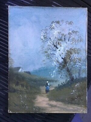 Old Antique Primitive Landscape  Painting Oil On Canvas No Reserve