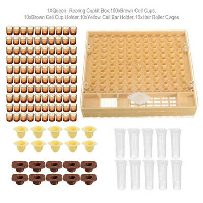 Complete Bee Queen Rearing Cup Kit System Catcher Box 100 Cell Cups Set Great