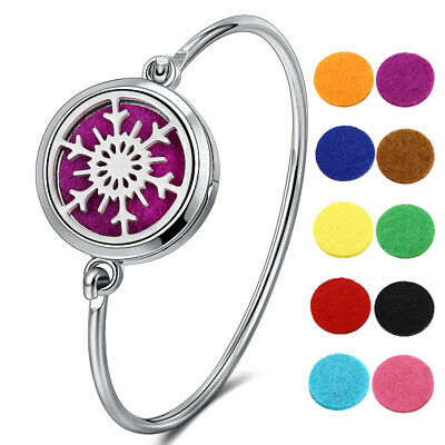 316L Stainless Essential Oils Aromatherapy Locket Diffuser Bangle Bracelet Gift