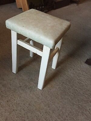 Sweet Vintage Old Retro Painted  Stool Vinyl Top  30/10/G