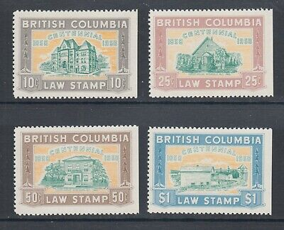 British Columbia, Van Dam BCL46-BCL49 MNH. 1958 Provincial Revenue Law Stamps VF
