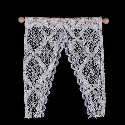 1:12 Dollhouse curtains miniature furniture valance with rod UK