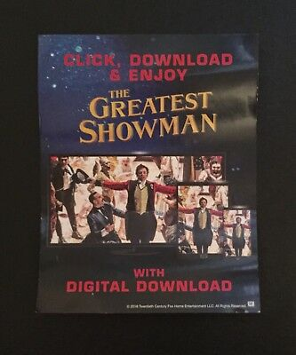 THE GREATEST SHOWMAN (2017) HD Digital Download Code from UK BLU RAY NO DISC