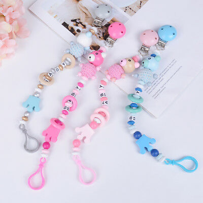 Baby Pacifier holder chain cartoon baby soother toys wooden beads UK