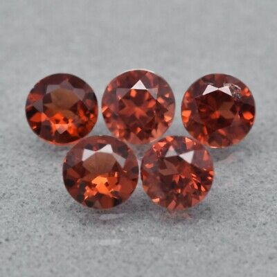 5pcs Lot 1.51ct t.w 4mm Round Natural Reddish Orange Garnet