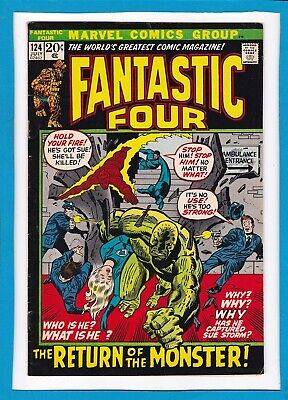 """Fantastic Four #124_July 1972_Vf Minus_""""the Return Of The Monster""""_Bronze Age!"""