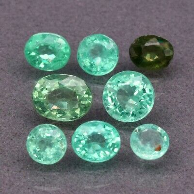 8pcs Lot 2.53ct t.w Round & Oval Natural Paraiba-Color Neon Blue Green Apatite