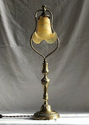 """Antique French """"Harp"""" Table Lamp With Pate de Verre Shade signed VIANNE"""