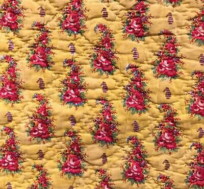 c1830s/40s  BEAUTIFUL 19th CENTURY PROVENCAL QUILTED PANEL, ROSES 149.