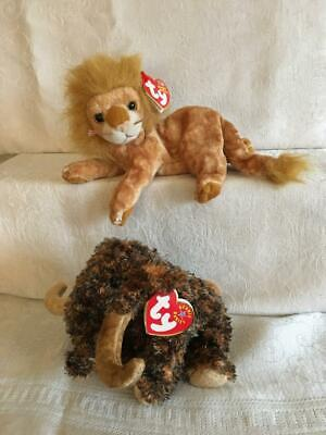Lot 2 Ty Beanie Baby GIGANTO Wooly Mammoth Elephant ORION Lion MWMT Retired Toy