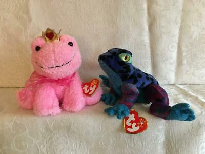 5186a80f451 Lot 2 Ty Beanie Baby Kissable Dart Frog MWMT Retired Plush Animal Toy MINT