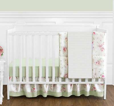 b5f4170ed45e4 Sweet Jojo Designs Bumperless Baby Girls Pink Green Floral 4pc Crib Bedding  Set