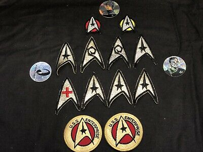 PATCH LOT of 12 Vintage Star Trek Insignia Patches, Badges, Spinners