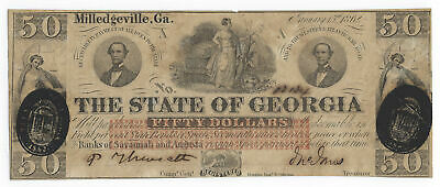 $50 1862 The State of Georgia Milledgeville Obsolete Cr2