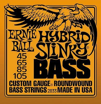 4-String Bass Guitar Strings 2833 Ernie Ball Hybrid Slinky Roundwound 45-105