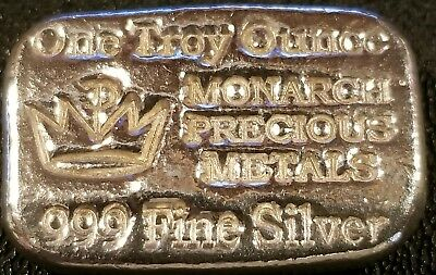 Hand Poured 1 oz Silver Bar - Monarch Precious Metals 999 Fine Silver Bar