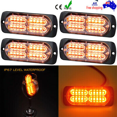 4x LED Strobe Lights Emergency Warning Flashing Lamp Ute Truck Side 20LED Amber