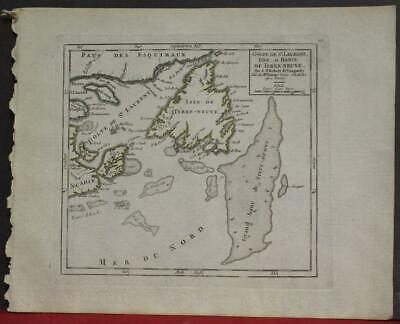 Gulf Of St. Lawrence Newfoundland Canada 1748 Vaugondy Antique Engraved Map