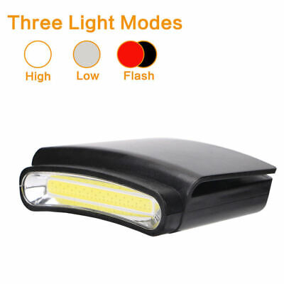 COB LED Clip-on Cap Hat Head Light Torch Camping Hiking Fishing Outdoor Headlamp