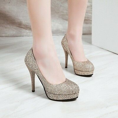 Sexy Women's High Stilettos Heels Pumps Bling Bling Sequins Party Club Shoes NEW
