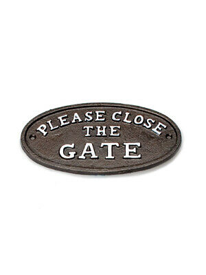 """7"""" Dark Brown Metal Cast Iron Oval """"Please Close The Gate"""" Sign Plaque"""