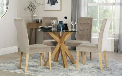 Hatton Round Oak and Glass Dining Table with 4 Regent Mink Velvet Chairs