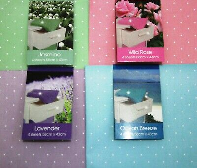 4x Luxury Scented Drawer Liner Sheets Jasmine Rose Lavender Ocean 58x43cm