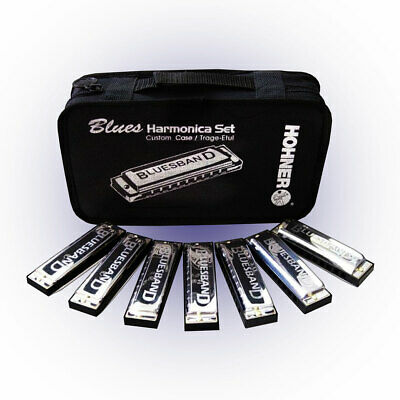 Hohner Blues Band 7 Harmonica Set With Carry Case A Bb C D E F G Great Value!