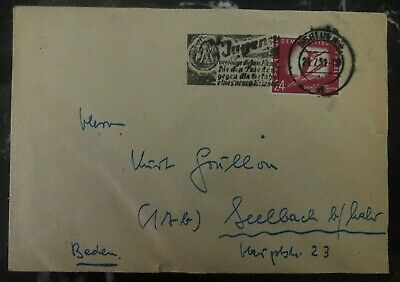 1951 East Berlin DDR Germany cover To Seelbach Winter Games Stamp