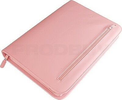 Pink Faux Leather A4 Zipped Conference Folder Large Portfolio Work Case Business