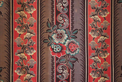 Antique French Fabric rare purple red & blue madder tones 1830 roller printed