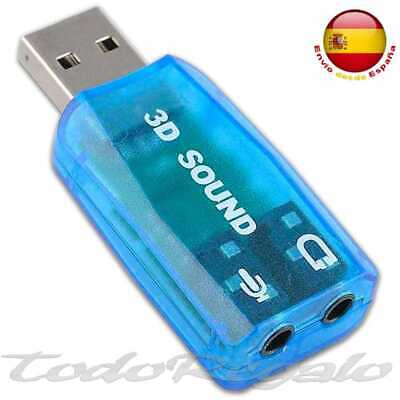Tarjeta de Sonido Externa USB 3D 5.1 Audio para PC Laptop Virtual DJ Audio Negro