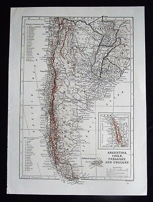 Vintage Map: Argentina, Chile, Paraguay & Uruguay by Emery Walker, c 1950s