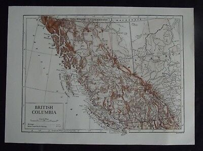 Vintage Bi-Colour Map: British Columbia, Canada, by Emery Walker, c 1950s