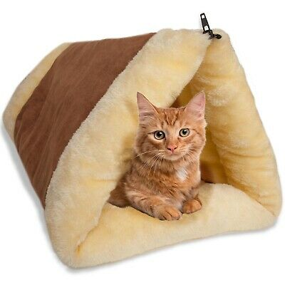 OxGord Paws & Pals 2-in-1 Indoor Fleece Pyramid Dog & Cat Pet Bed, Small