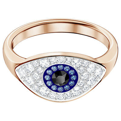 829c08519 Swarovski Crystal Duo Evil Eye Ring, Rose Gold Plating 5441193 (Size 6/ 52