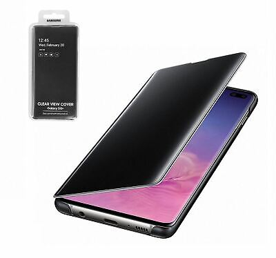 New Genuine Samsung Galaxy S10+ Plus Clear View Standing Cover Flip Case - Black