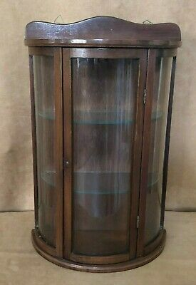 """Vintage 19"""" Curio hanging Wall Shelf bow wooden display glass front antique"""