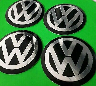4 x 60mm VW Black Wheel Centrecap Emblems Overlays/ Stickers Aluminium 3D Logo