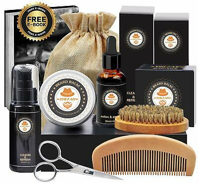 XIKEZAN 8 in 1 Mens gifts for Men Beard Care Growth Grooming Kit with Unscented
