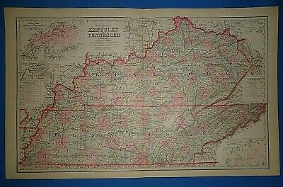 Vintage 1883 KENTUCKY - TENNESSEE Map Old Antique Original OW GRAY Atlas
