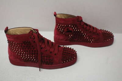 lowest price 78df8 ccd92 CHRISTIAN LOUBOUTIN MEN'S EU40.5/US7.5 Flat Sneaker With Spikes Wine 3101212