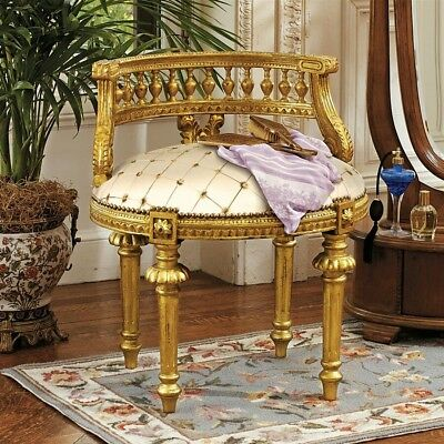 French Antique Replica Gold Upholstered hand-carved Wood Boudoir Armless Chair