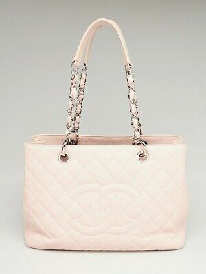 97f99a67625b CHANEL PINK QUILTED Caviar Leather Grand Shopping Tote Bag ...